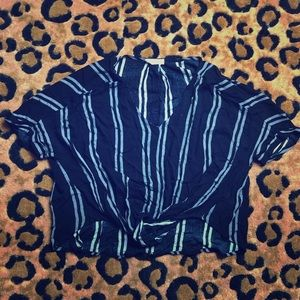 Navy Blue Knotted Blouse